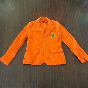 Ralph Lauren Women Preppy Orange Blazer Crest Size 12 purveyors Of Fine Equine